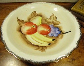 Enesco - Shallow Bowl - Hand Painted - Fruit - Gold Accent