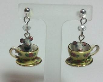 Mouse Teacup Earrings