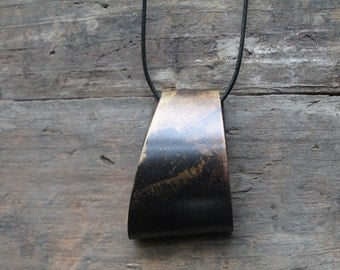 Unifold Blackened Brass Pendant Necklace by YeouDesigns