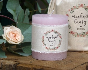 personalised candle - Wedding guest gift