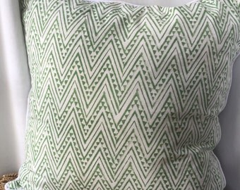 Green Zig Zig block painted cushion cover