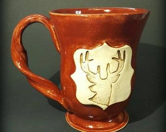 Wheel-Thrown Deer Mug, Firebrick Red