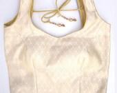 Golden Long Kurti  in brocade - Long Choli -  17 inch length - Ready made - Sari Blouse - Saree Top - Sari Top - For Women
