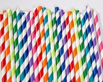 Rainbow Paper Straw Mix