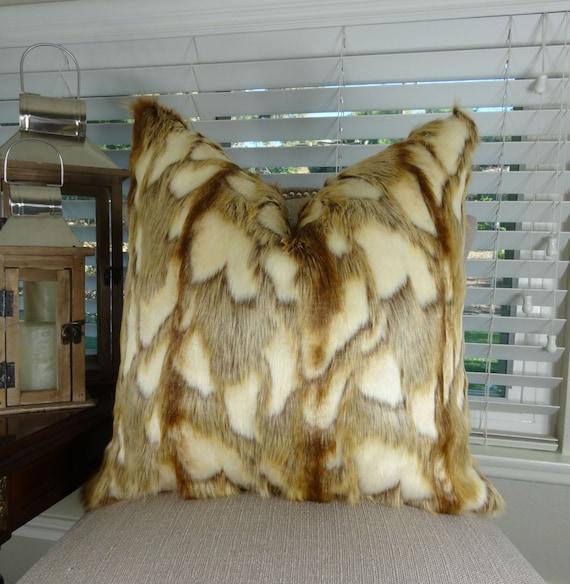 Brown Fur Throw Pillows : Light Brown Faux Fur Throw Pillow Cover Brandy Fox Fur