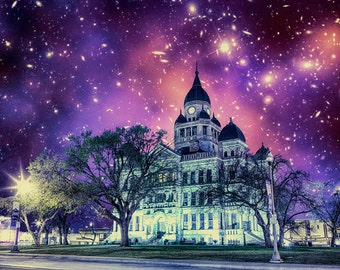 Castle at the Heart of Space - Limited Edition Canvas Print - Denton Texas Courthouse on the Square