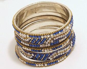Vintage Stackable Rhinestone Bangles Blue White Gold Design Silver Tone