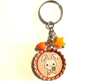 Beaded Bottlecap Keychain - Orange Bunny