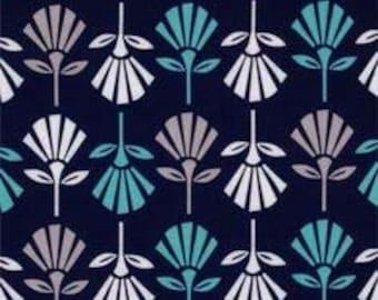 Navy, Aqua and Gray Gracie Girl Fabric from Riley Blake