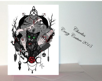 Black cat witches greeting card