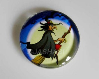 5 Witch Broomstick Round Glass Cabochons 20mm (050)