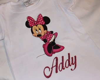 Pink Minnie Mouse Personalized Shirt| Onesie| Pink Polka Dot| Minnie Fan |Birthday |Disney Inspired