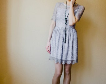 Little Lace Dress, Elegant laced dress, Gray  Lace  Dress, Mini Party Dress, Stylish Cocktail Dress, Scalloped Hemline