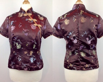 Vintage 90s Chinese Cheongsam Top, Brown Cheongsam Top, Asian Blouse, Hipster, Frog, Flower, Purple, Gold Satin, Size 6 8