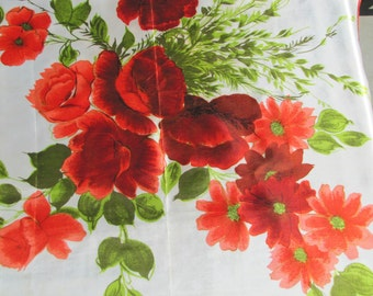 "Orange Poppies  on Creamy White St. GERMAIN Vintage 28"" Square Scarf"