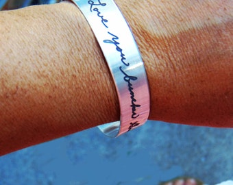 """Handwritten Stainless Steel Bracelet .5"""" x 6"""" Your Handwriting Personalized Custom Unique any Occasion Bridesmaid"""