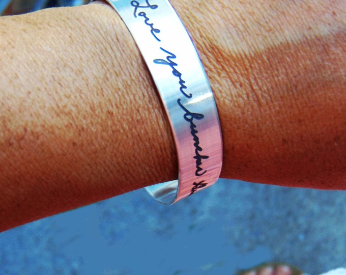 "Handwritten Stainless Steel Bracelet .5"" x 6"" Your Handwriting Personalized Custom Unique"