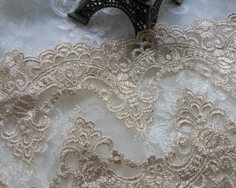 Gold Floral Lace Trim Venice Embroidered  Tulle Lace Trim 5.9 Inches Wide 1 Yard  X0130