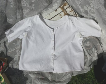 Vintage white blouse short sleeve */1930s/simple model/Oldfashion/Grandma's blouse/housekeeper/antiques/Buttons/