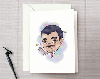 Neil deGrasse Tyson Greeting Card With Euro Flap Envelope, A7, 5 x 7 inch