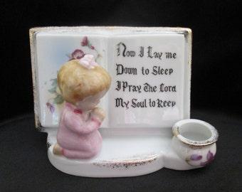 Vintage Lipper & Mann Prayer Planter Kneeling Little Girl Candle Holder Gold Trimmed Pansies Violets Porcelain Ceramic