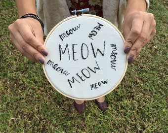 Meow Embroidery Hoop