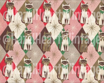 Vintage Cat Wrapping Paper, Siamese, Christmas, Harlequin, Starburst, Mid Century Modern, Kitsch, Pink, Blue, Gold, Atomic