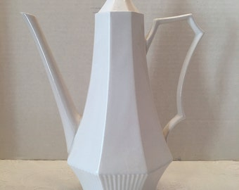 Independence Ironstone  Coffee Pot ~ White Coffee Pot ~ Interpace NKT Japan ~ Vintage