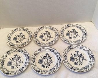 Royal China Blue Onion Plates ~ Six Small Plates ~ Sebring Ohio ~ Vintage