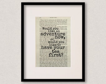"""Peter Pan quote print - Nursery decor - New baby gift - Baby shower gift - """"Would you like an adventure now..."""""""