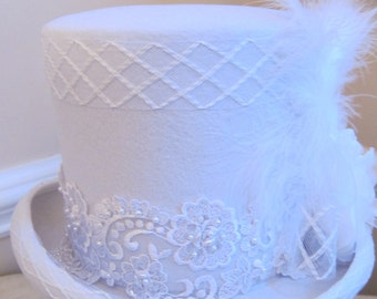 Wedding Bridal White Tophat with Lace and Feathers! Inspired by Stevie Nicks! Small