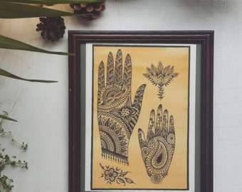 Original  A4  framed  mehndi  hand illustration.