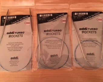 "US 3 Addi Turbo Rockets Knitting Needles Lengths 16 and 24"""