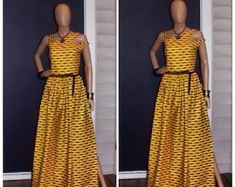 Ankara Yellow off the shoulder dress