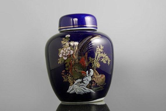 Ginger Jar, Cobalt Blue, Pheasants and Flowers