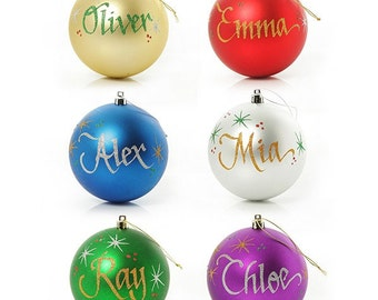 Personalised Shatterproof Baubles Family Six Pack - 8cm