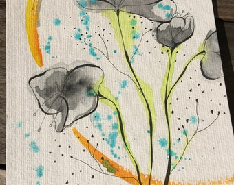 Watercolor and ink flower