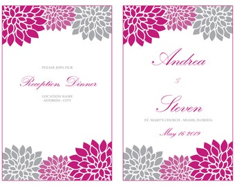 Printable Mums Foldover Wedding Program Template, Magenta Gray Chrysanths Reception Program Booklet, INSTANT DOWNLOAD, Editable Text &Colors