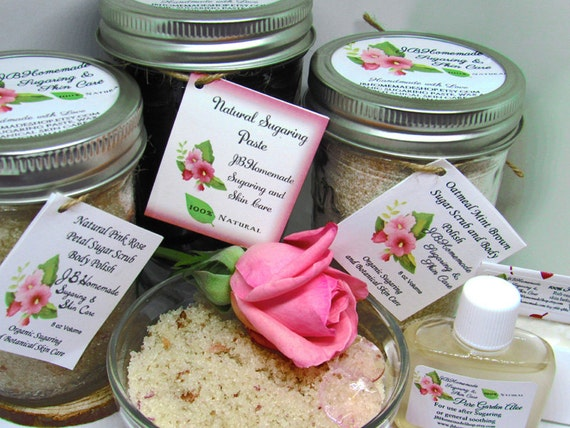 Sugaring Paste & Natural Pink Rose Petal Sugar Scrub Deluxe Bundle Save 10% - Sugaring Paste - Pink Rose Sugar Scrub - Oatmeal Mint Scrub