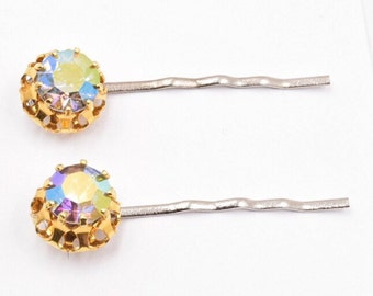 Rhinestone hair pins, aurora borealis pink rhinestone bobby pin, bridal hair, vintage 1950s earring, vintage wedding hair pin,  hair clip
