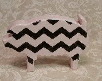PINK CHEVRON PIG