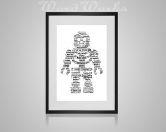 Halloween Lego Skeleton Word Art Print