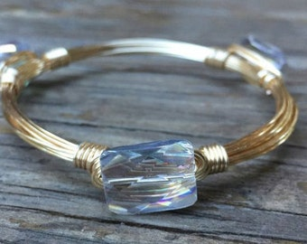 Clear crystal faceted wire bangle bracelet