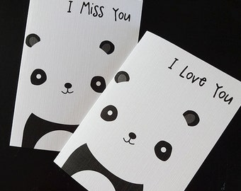 Love You / Miss you cute panda card