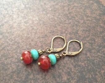Bohemian Turquoise and Carnelian Earrings.