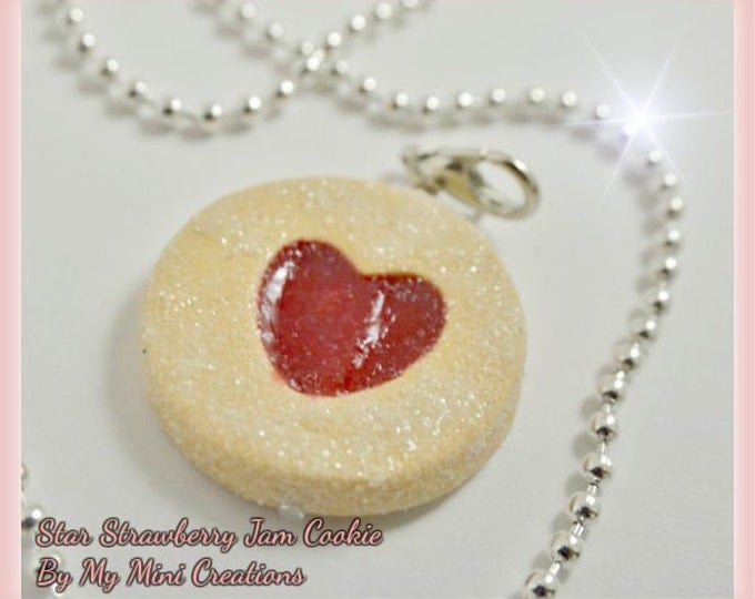 Heart Strawberry Jam Cookie Necklace, Miniature food jewelry, Miniature food