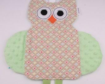 Owl Crinkle Tag Toy, Baby Lovie, Minky Blanket, Baby Girl, Baby Shower Gift, Baby Crinkle Toy, Sensory Toy, Tag Security Blanket