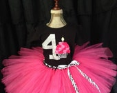 Girl's Fourth birthday outfit, 4th birthday outfit, number four birthday shirt, zebra party birthday, 4 year old birthday outfit, girls 4th