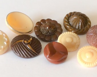 Beige and brown vintage glass button lot-9pc