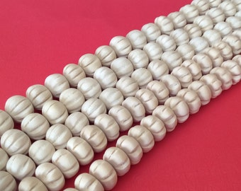 """14mm White Wood Beads, Natural Wood Beads, Bleached Dica Carved Squash-16"""" strand"""